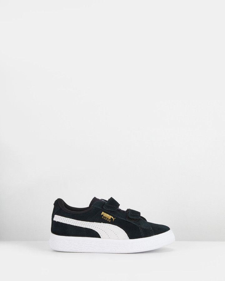 Shoes and Sox Suede 2 Straps Ps B Black/White