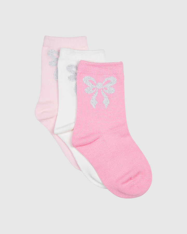 Shoes and Sox G Bow Crew 3 Pk Pink/White/Fuchsia