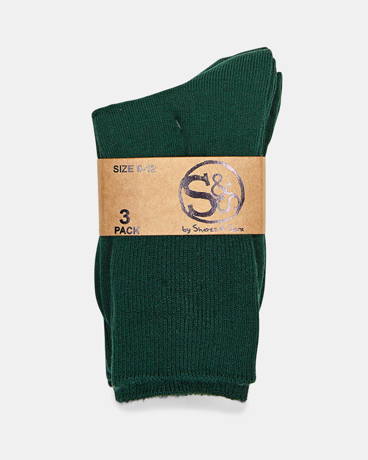 Shoes and Sox Plain Turnover 3 Pk  Bottle Green