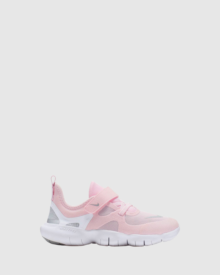 Shoes and Sox Free Rn 5.0 Ps G Pink Foam/Silver/Grey