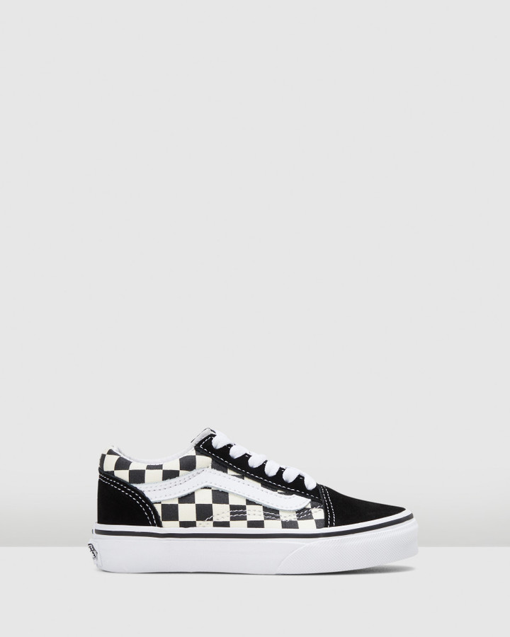 Shoes and Sox Old Skool Lace Check Yth B Black/White