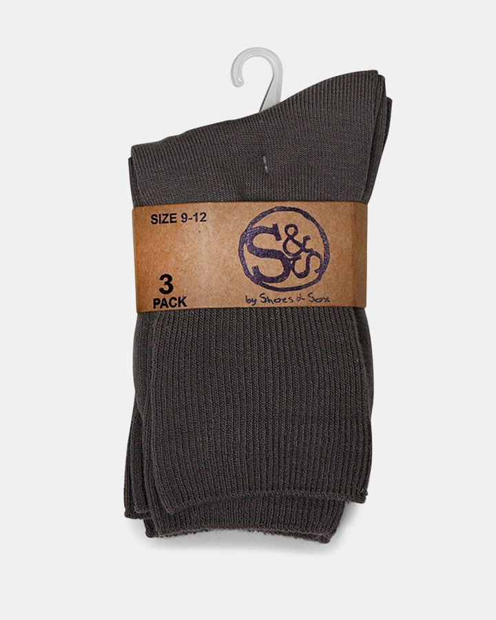 Shoes and Sox Plain Turnover 3 Pk  Grey