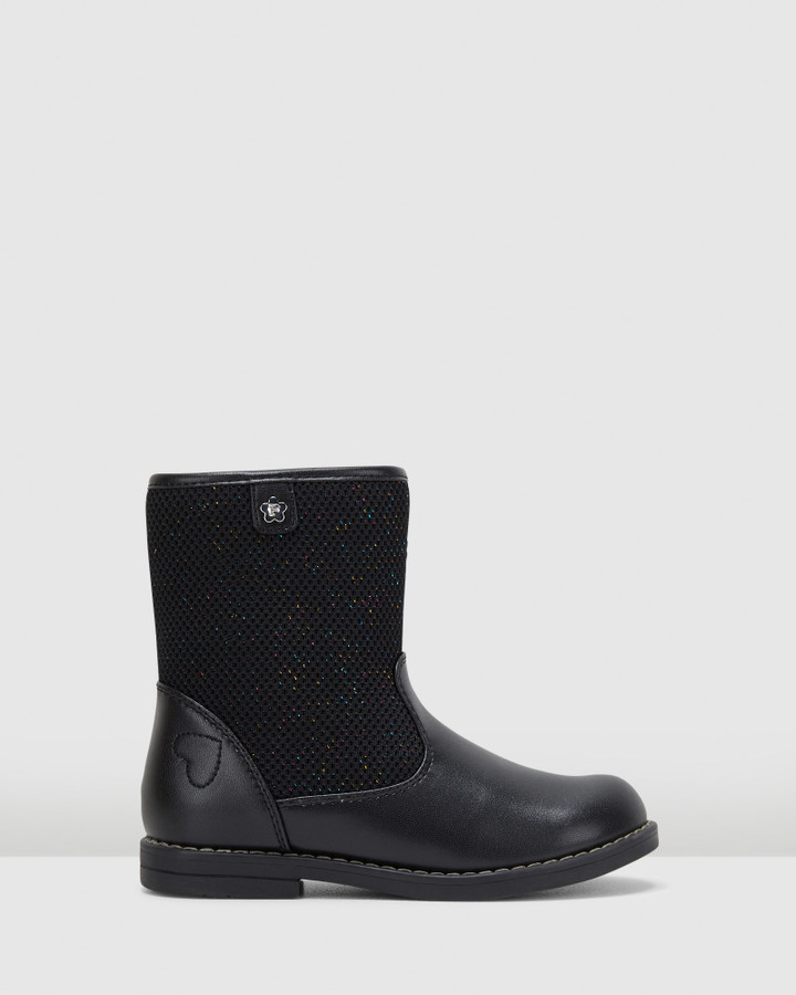 Shoes and Sox Luni Jersey Boot Yth G Black