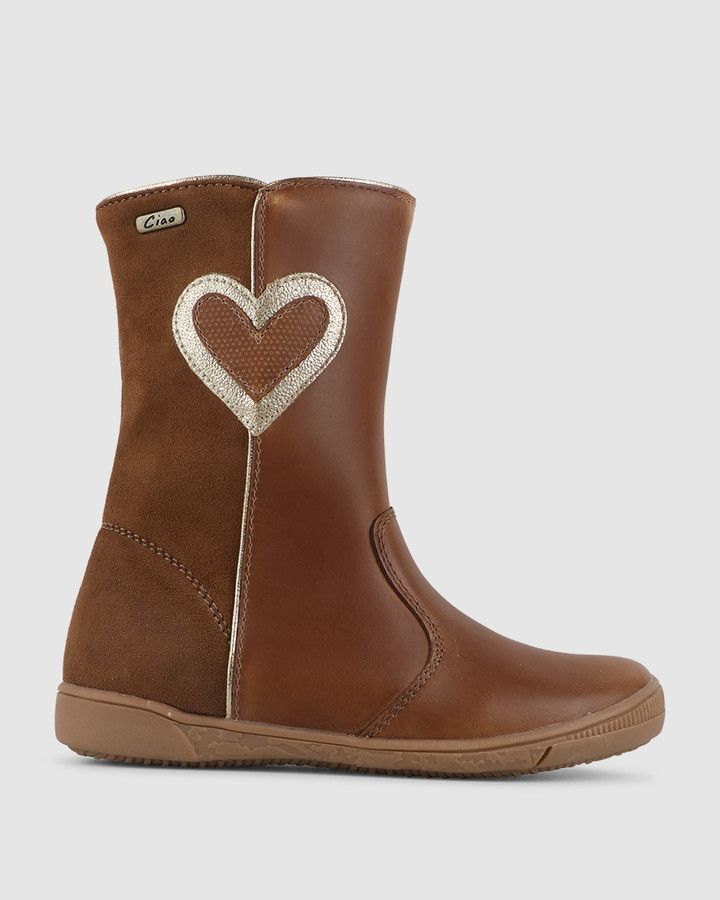 Shoes and Sox Gracey Heart Boot Tan/Gold