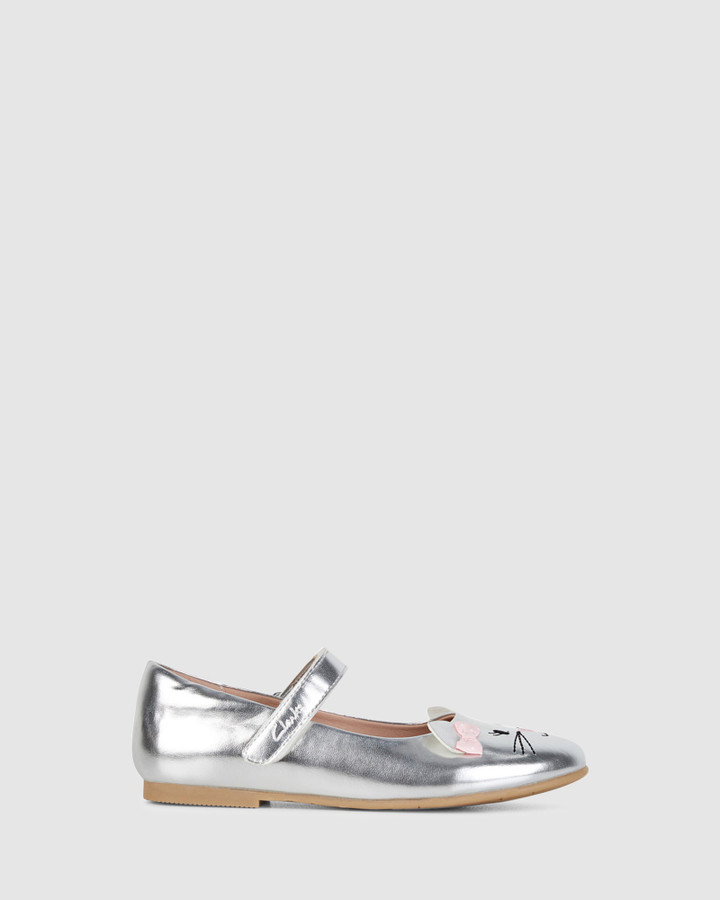 Shoes and Sox Alice Snr Silver/Pink Bow