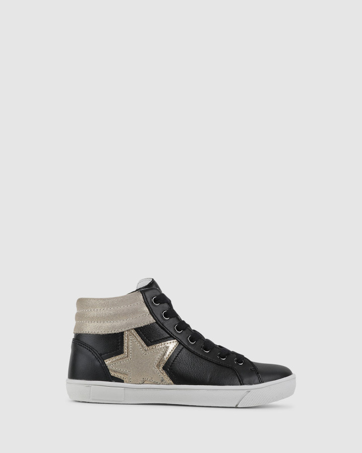 Shoes and Sox Glint Hi Top Black/Gold