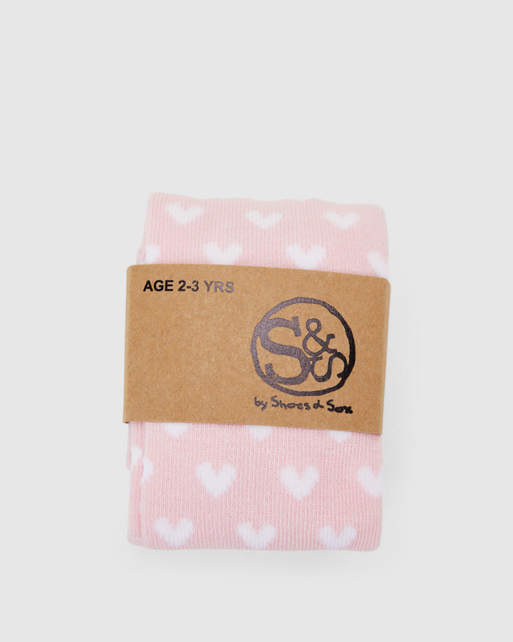 Shoes and Sox Mini Heart Cotton Tights Light Pink/White