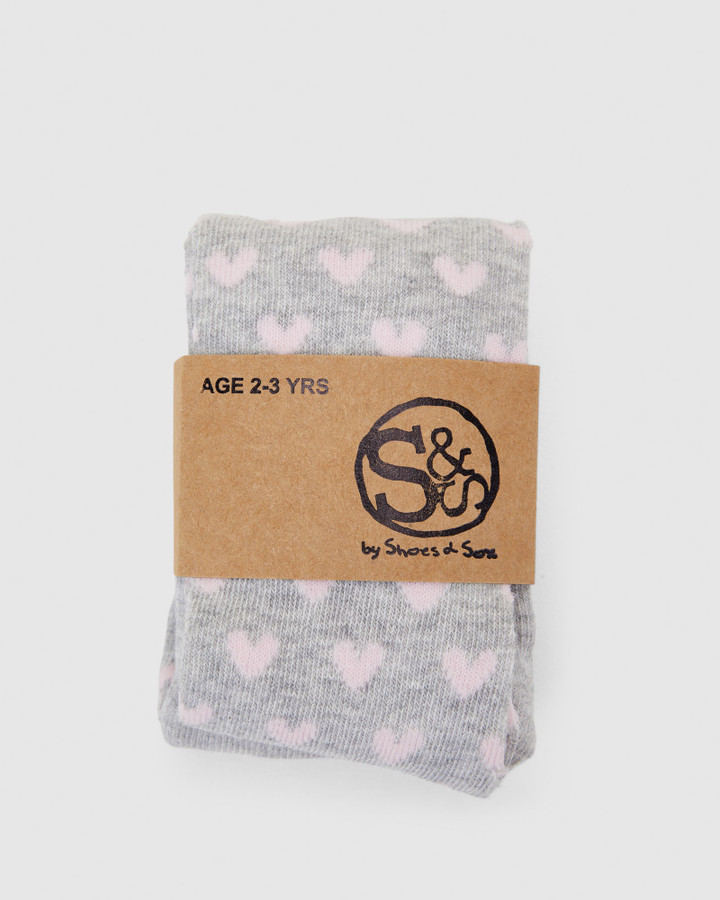 Shoes and Sox Mini Heart Cotton Tights Grey/Pink