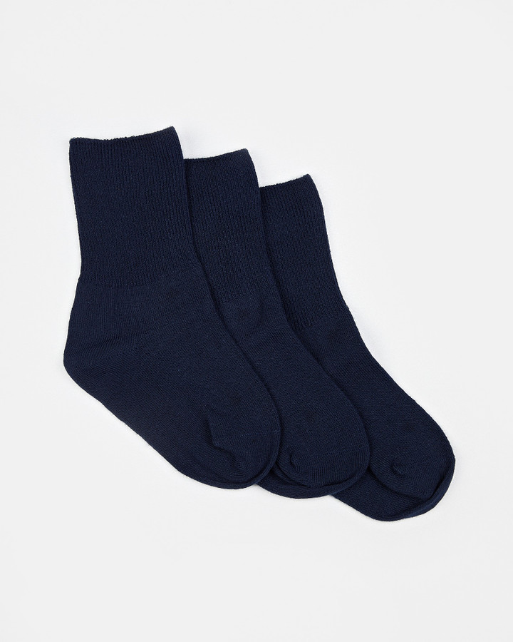 Shoes and Sox Plain Turnover 3 Pk  Navy