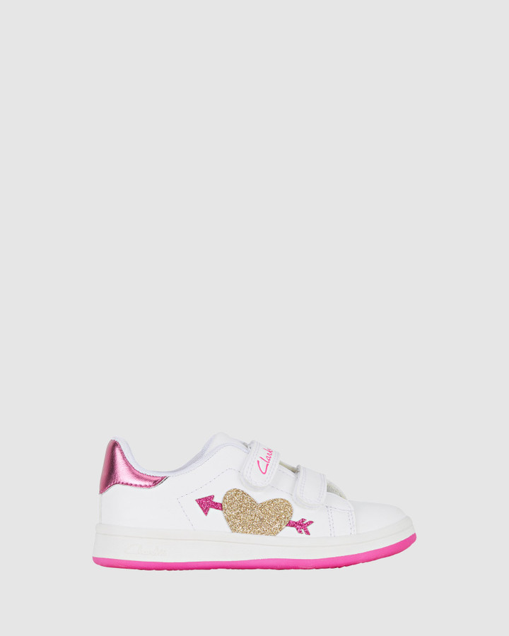 Shoes and Sox Devoted Jnr White/Fuchsia E+