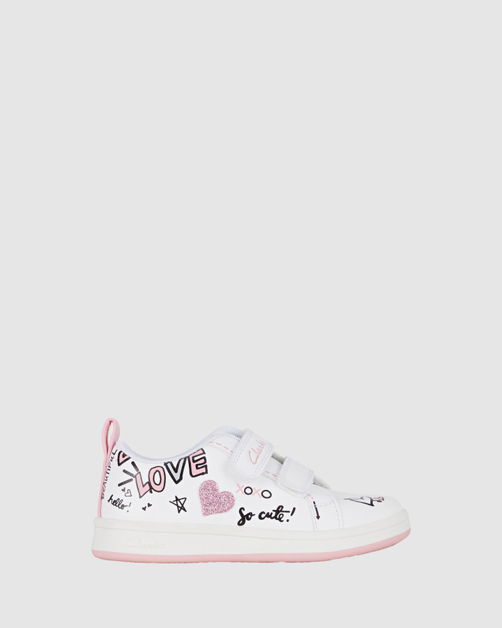 Shoes and Sox Dearest Jnr White/Pink E+