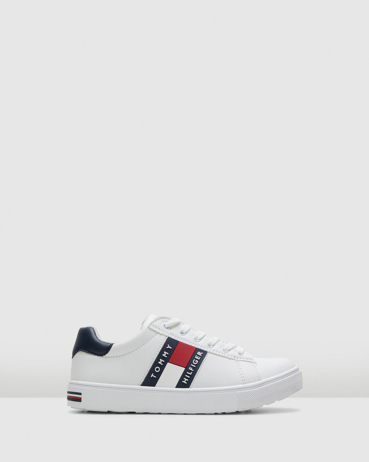 Shoes and Sox Th Tommy Flag Sneaker Snr White/Navy/Red