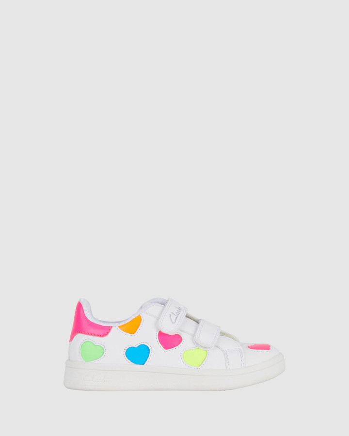 Shoes and Sox Dixie Jnr White/Neon Multi E+