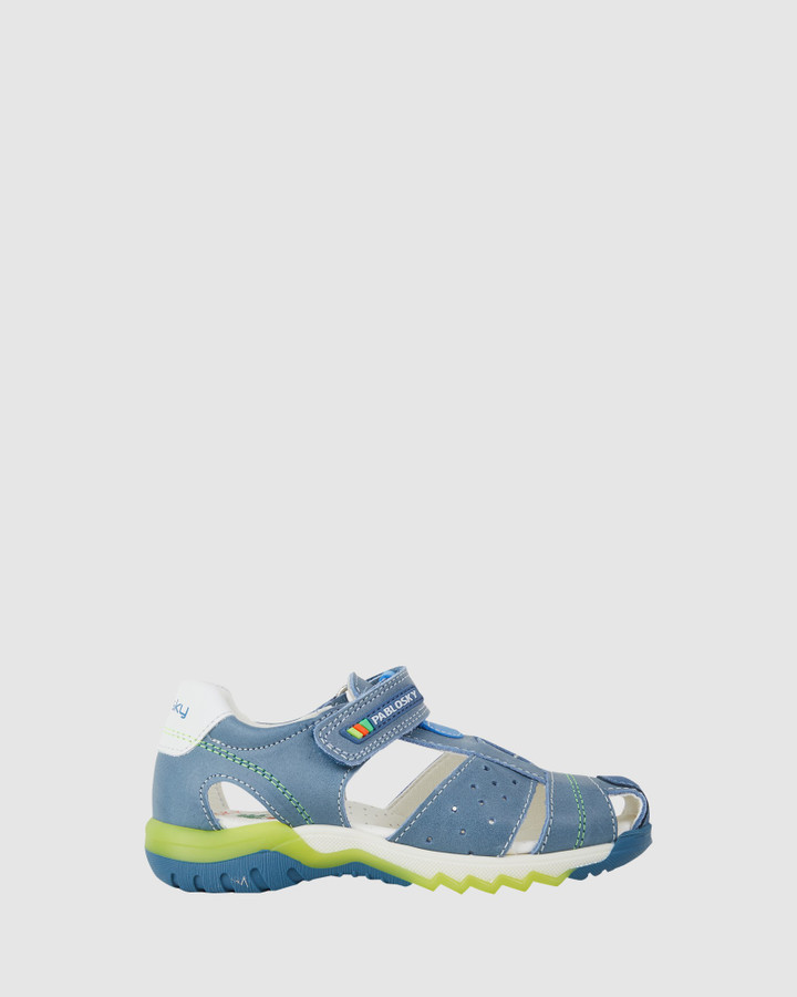 Shoes and Sox Cage Sandal B 595316 Yth Blue/Green