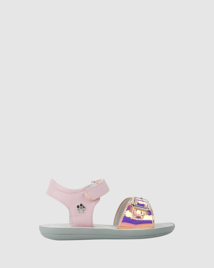 Shoes and Sox Tinkerbell Metallic Sandal Yth Pink Holo