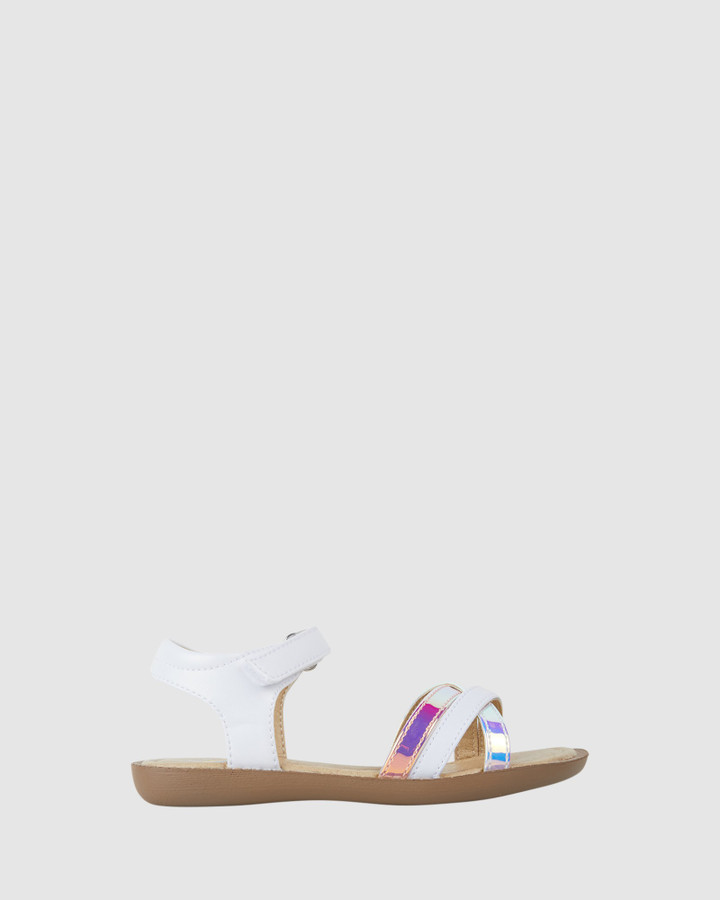 Shoes and Sox Bali Twisted Strap Sandal Yth White Multi