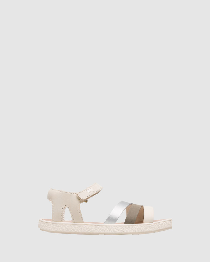 Shoes and Sox Twins Straps Sandal Yth Beige/Silver