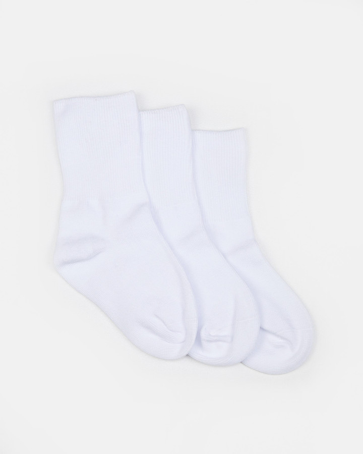 Shoes and Sox Plain Turnover 3 Pk  White
