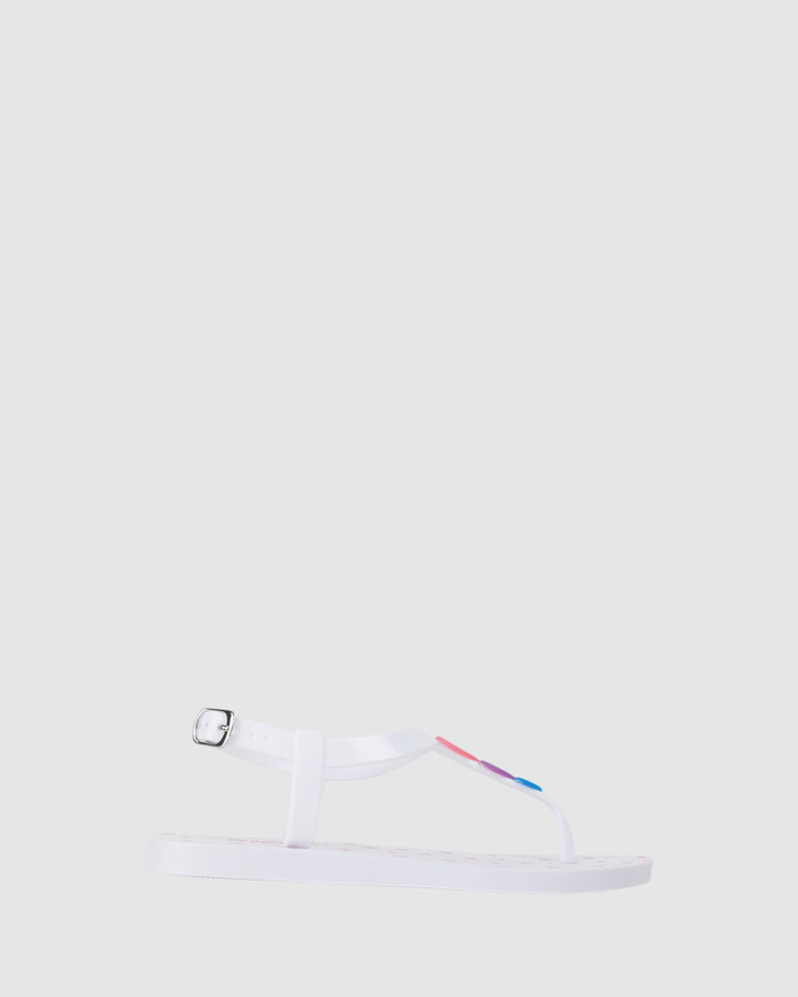 Shoes and Sox Khloe Heart Sandal White Multi