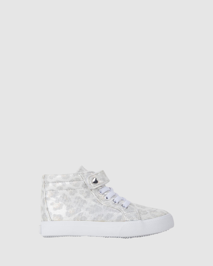 Shoes and Sox Morgan Shimmer Hi Top White Leopard