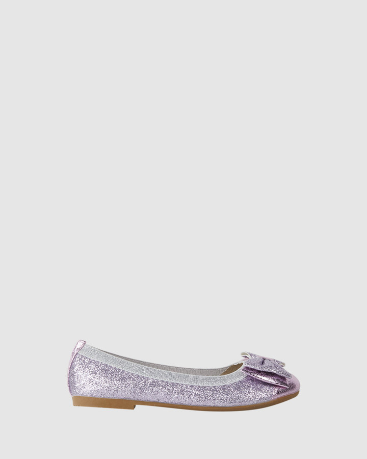 Shoes and Sox Charm Double Bow Ballet Dark Lilac