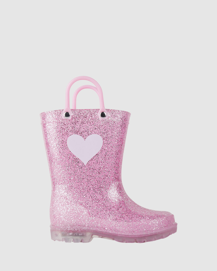 Shoes and Sox Kiki Heart Gumboot G Pink Glitter