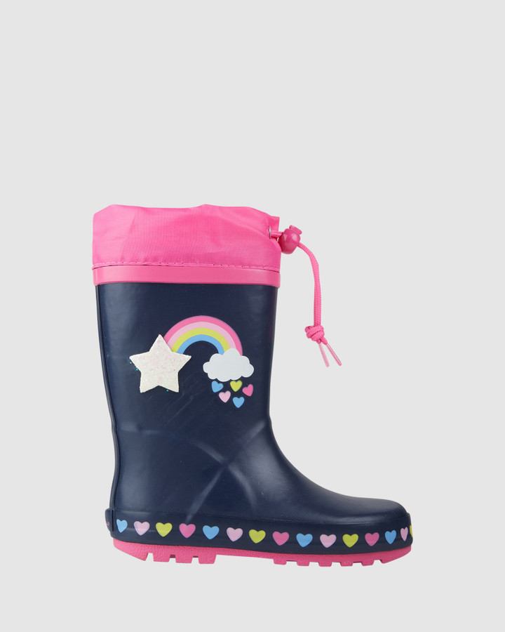Shoes and Sox Rainbow Sparkle Gumboot Navy/Pink