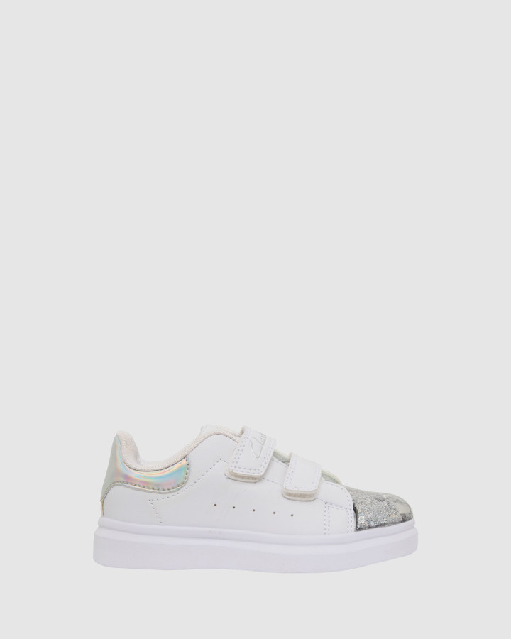 Shoes and Sox Queenie Jnr White/Silver