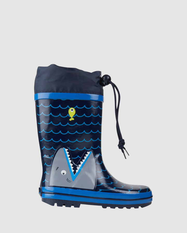 Shoes and Sox Shark Gumboot Navy