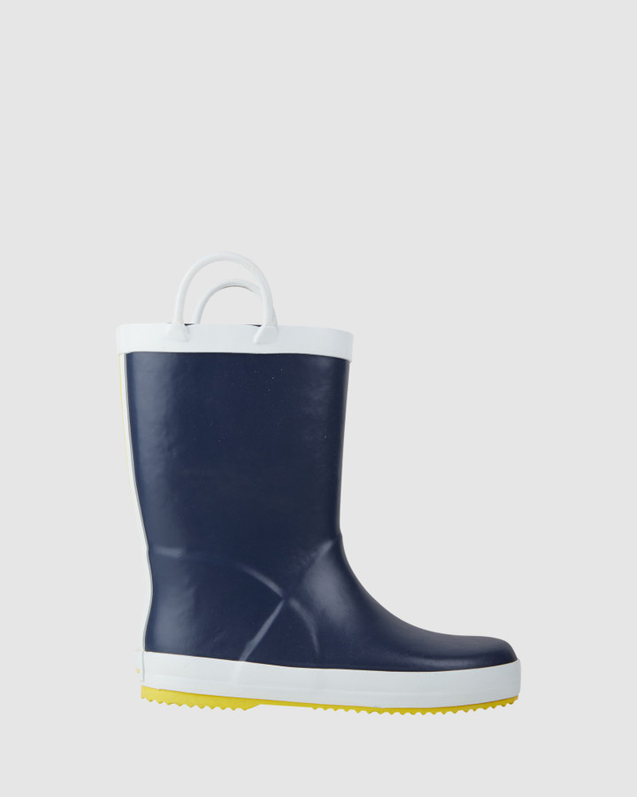 Shoes and Sox Splash Stripe Gumboot B Navy/Yellow