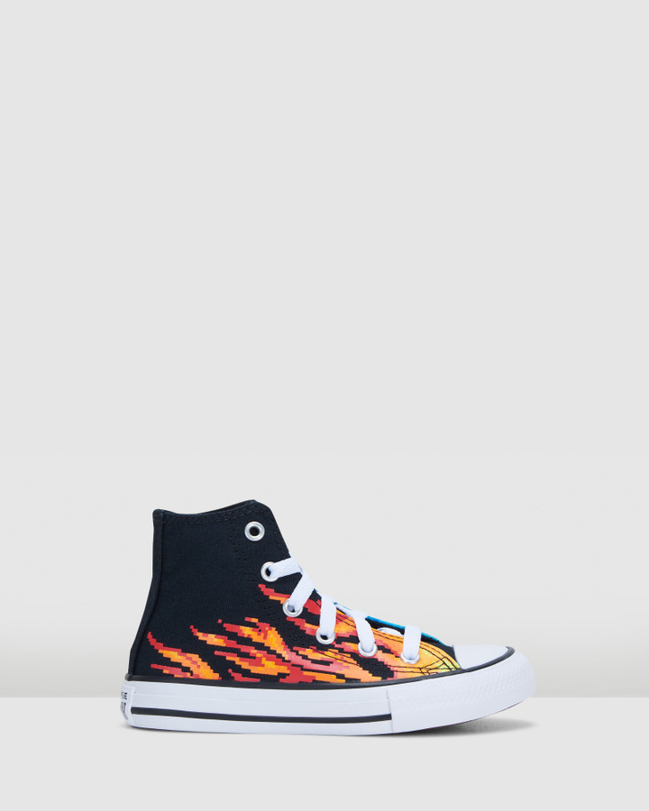 Shoes and Sox Ct As Pixel Flame Hi Yth B Black/Blue/Red