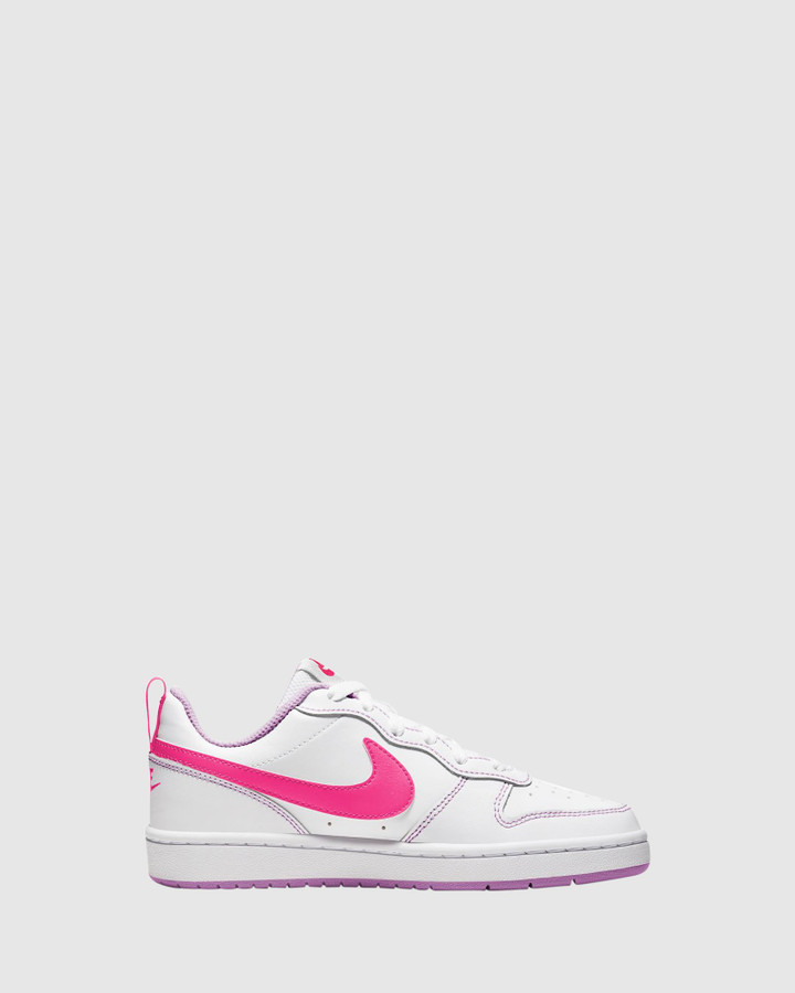 Shoes and Sox Court Borough Low 2 Gs G White/Hyper Pink