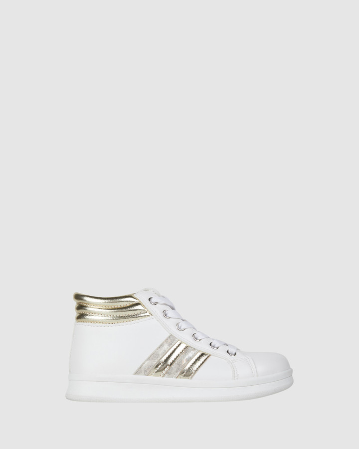 Shoes and Sox Estelle Hi Top White/Gold