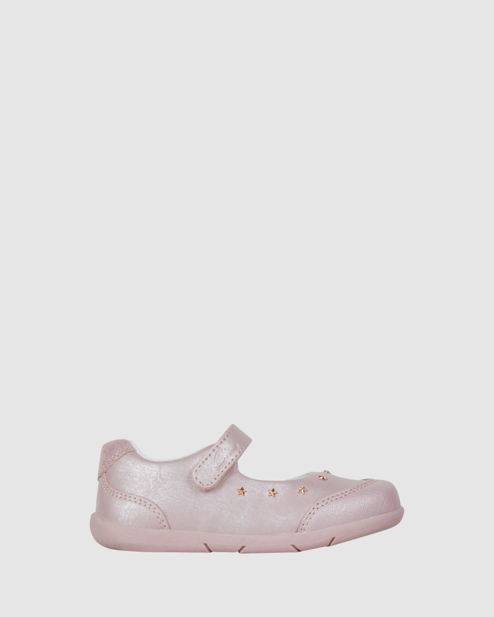 Shoes and Sox Bella Star Mary Jane Light Pink Shimmer