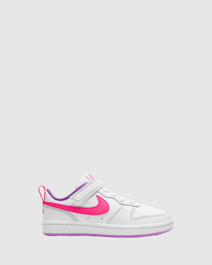 Shoes and Sox Court Borough Low 2 Ps G White/Hyper Pink