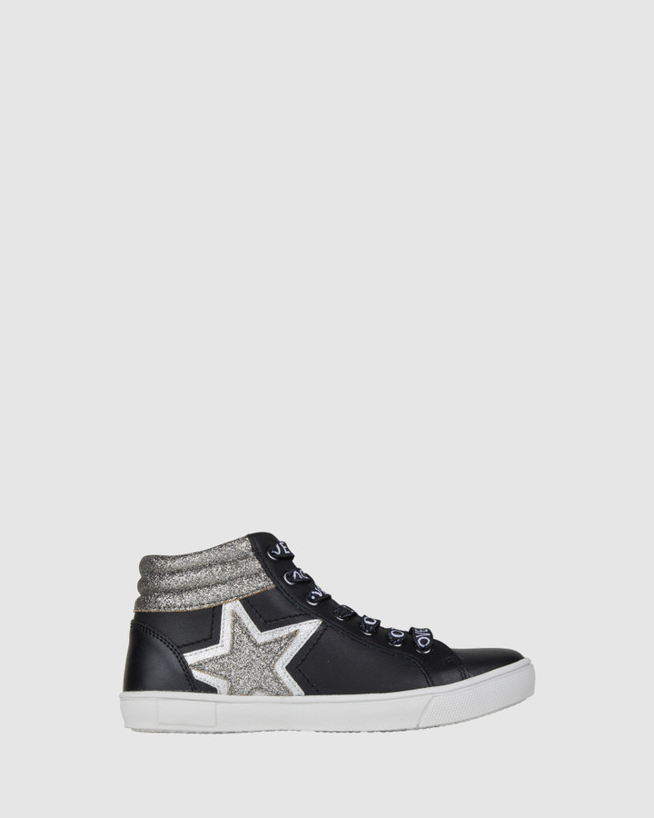 Shoes and Sox Glint Love Hi Top Black/Silver