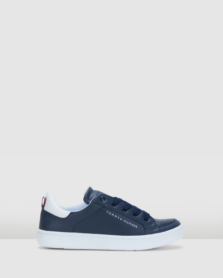 Shoes and Sox Th Lace Flag Sneaker Snr Navy/White