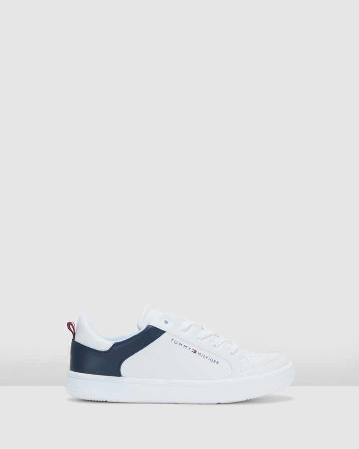Shoes and Sox Th Lace Flag Sneaker Snr White/Navy
