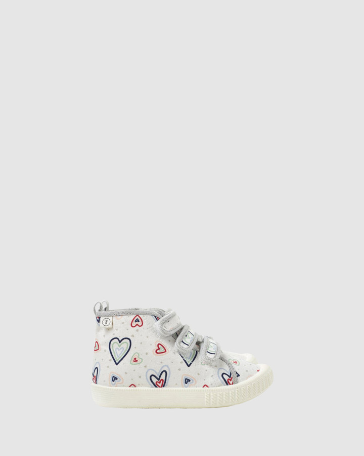 Shoes and Sox Billie Young Hearts Hi Top White Multi