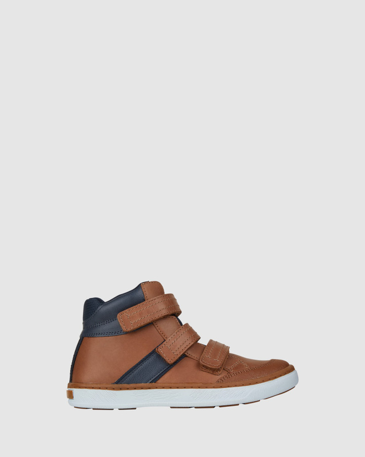 Shoes and Sox Geoff Straps Boot Tan/Navy