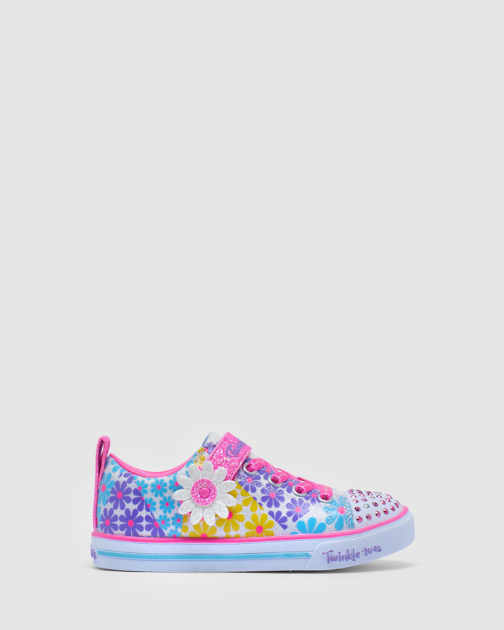 Shoes and Sox Tt Super Blooms Yth White Multi