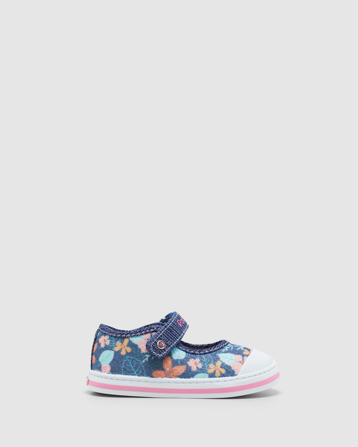 Shoes and Sox Floral Canvas Mj 9614 Inf Navy Glitter