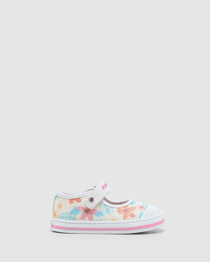 Shoes and Sox Floral Canvas Mj 9614 Inf White Glitter