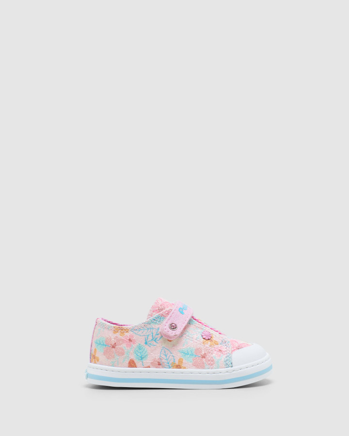 Shoes and Sox Floral Canvas Sf 9617 Inf Pink Glitter