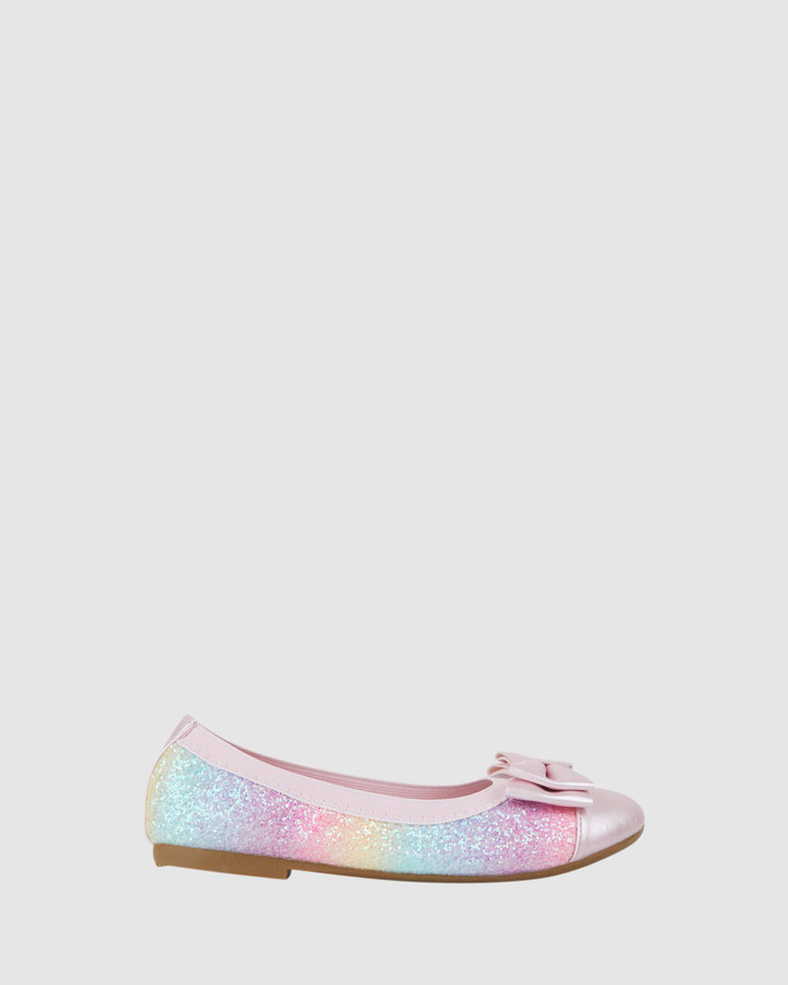 Shoes and Sox Charm Double Bow Ballet Rainbow Glitter