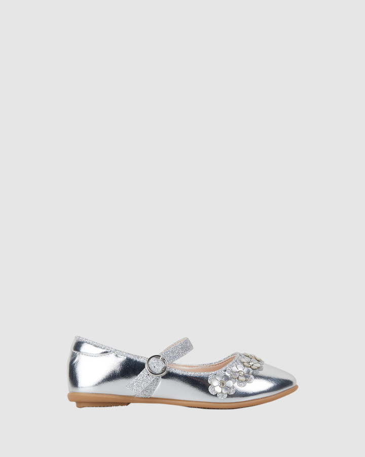 Shoes and Sox Caley Flower Silver