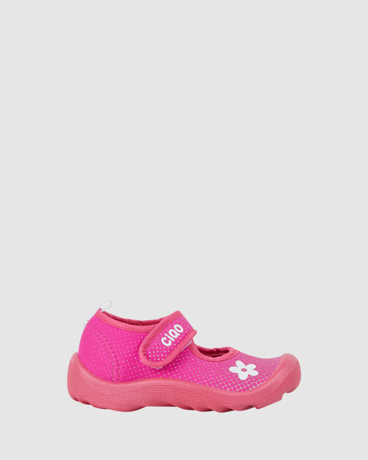 Shoes and Sox Beach Glitter Flower G Bright Pink
