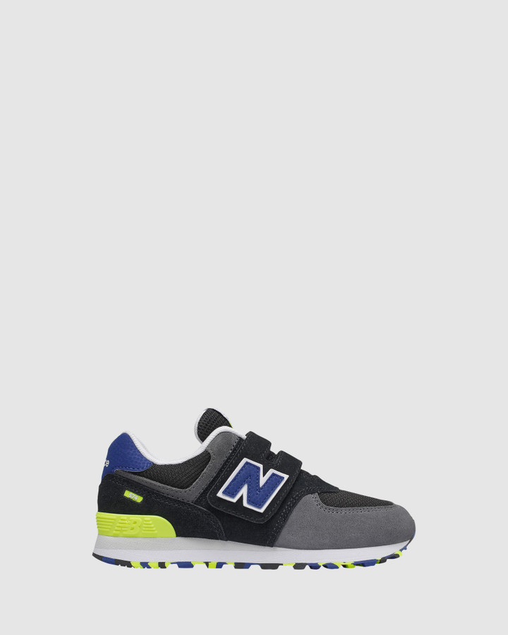 Shoes and Sox 574 Sf Strap Ps B Black/Blue/Lime