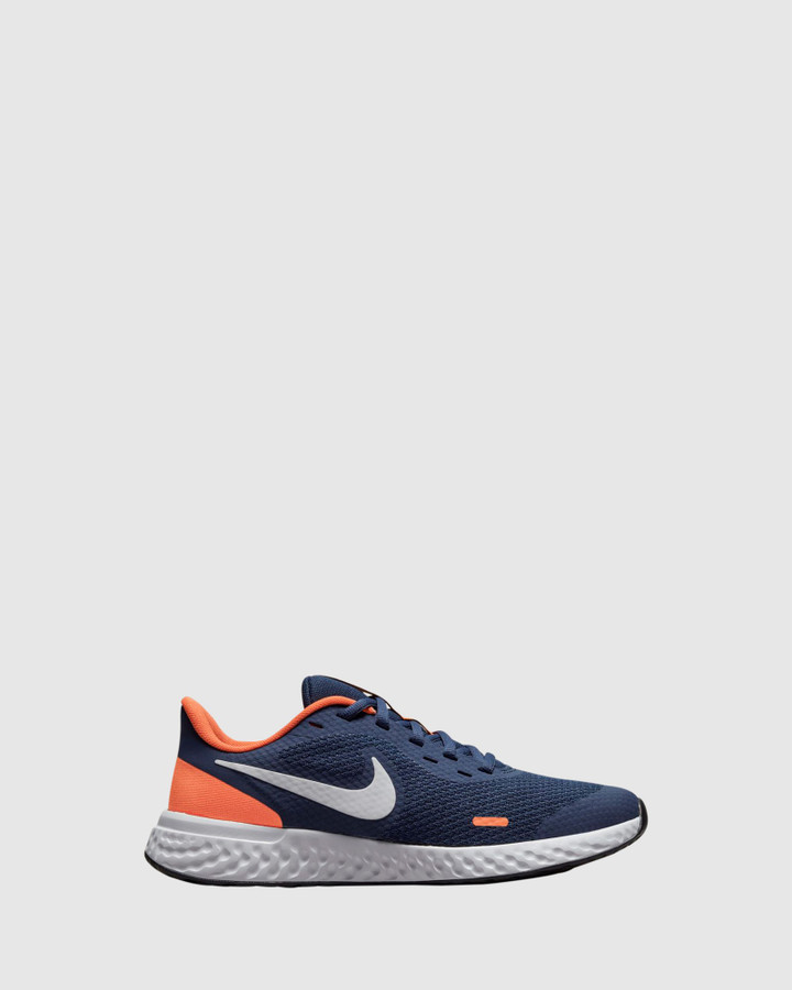 Shoes and Sox Revolution 5 Gs B Midnight Navy/White/Orange