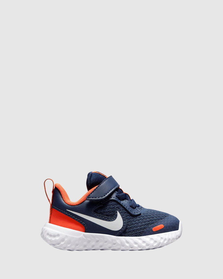 Shoes and Sox Revolution 5 Inf B Midnight Navy/White/Orange